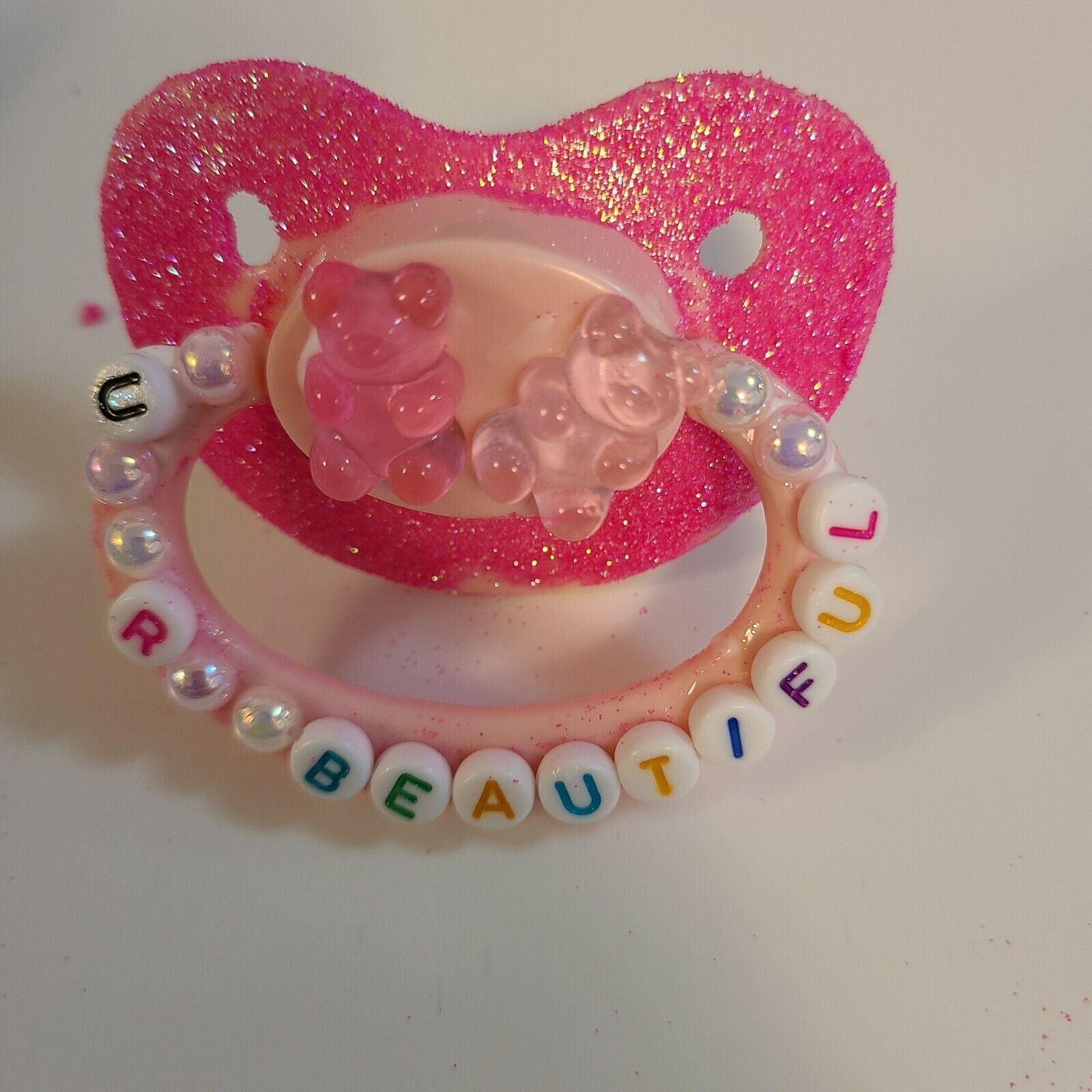 DDLG-ABDL ADULT PACIFIER/ U R BEAUTIFUL/ PINK - $35.00