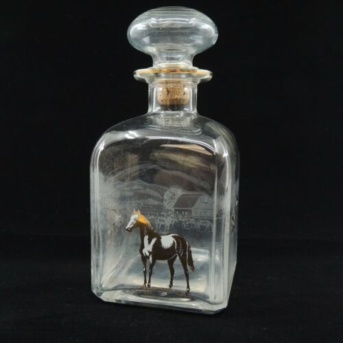 Italian Glass Kentucky Bourbon Gold Horses Etched Scene Bottle with Cork Stopper