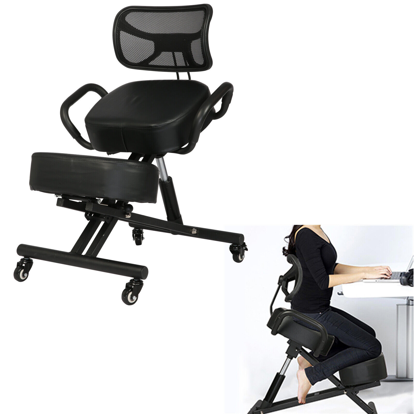 Adjustable Ergonomic Kneeling Chair Posture Stool Seat Home Office Back Support
