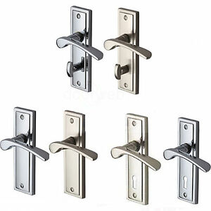Boston Door Handle Pair Lever On Plate Lock Latch Bathroom