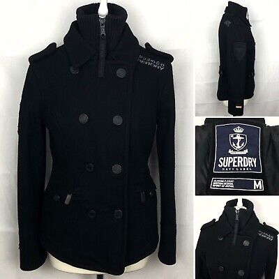 SUPERDRY Navy Label Pea Coat Size Medium (UK 12) WomensDouble Breasted In Black