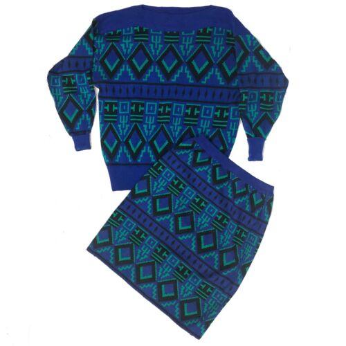 Vintage Jonathan Martin Sweater Top + Skirt 2 Piece Set Blue Green
