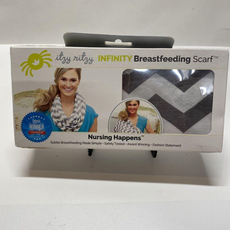 Itzy Ritzy Nursing Infinity Scarf Breastfeeding Cover Gray White Chevron NEW