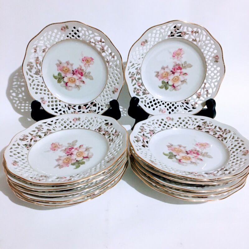 "12 Schumann Arzberg Germany Pierced Reticulated Salad Plates 7.5"" Rosedale Set"