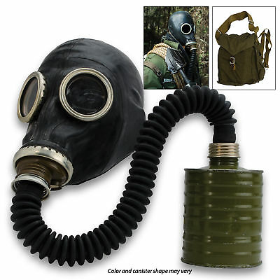 Real Soviet Russian Ussr Military Gas Mask Gp-5 Black Hose Respiratory Surplus