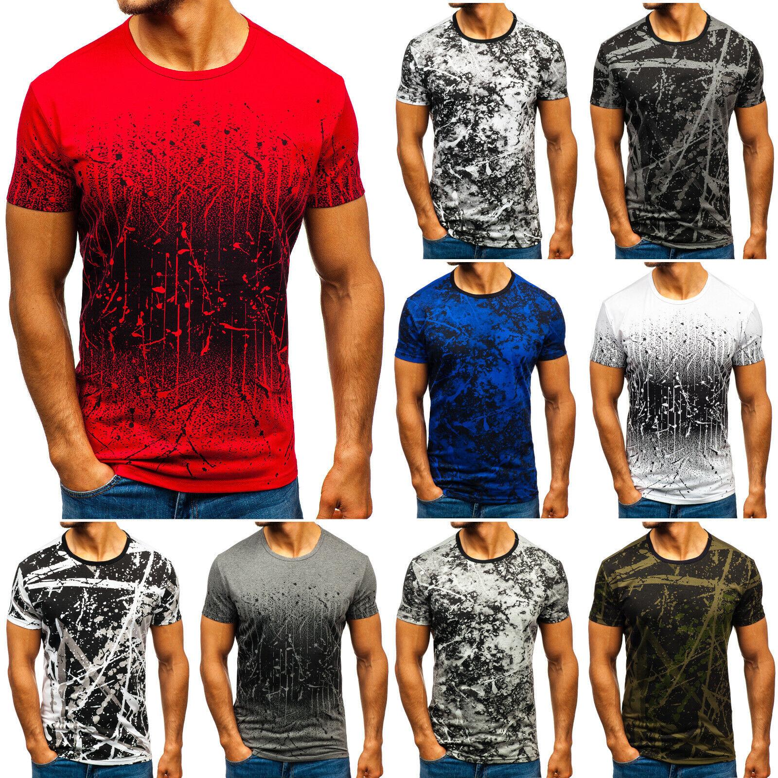 T-Shirt Tee Kurzarm Rundhals Classic Print Herren Mix BOLF 3C3 Aufdruck