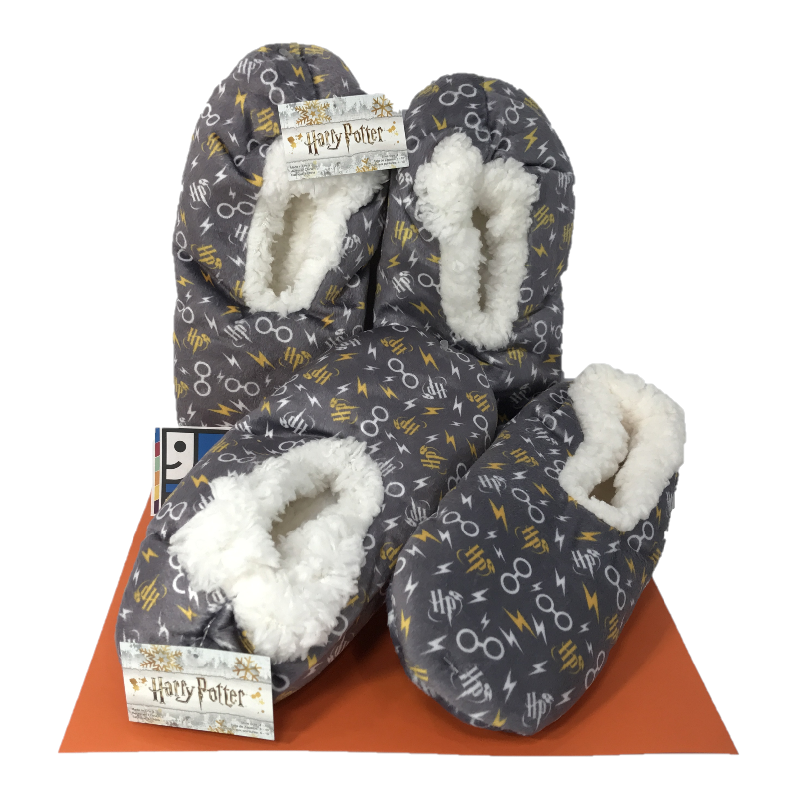 Harry Potter Slippers - Lot of 2 Pairs - New Fuzzy Bed Grip
