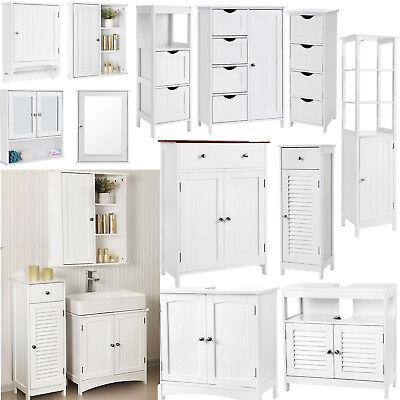 Songmics Armoire de salle de bains en bois blanc Meuble de rangement Blanc