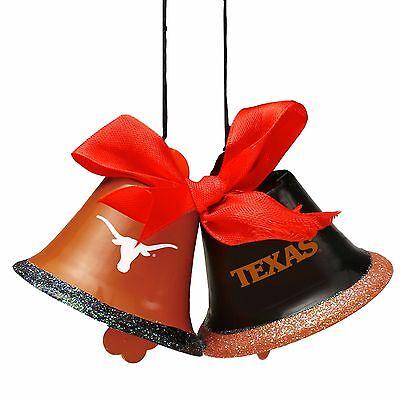 Texas Longhorns Christmas Ornament (Texas Longhorns Christmas Tree Holiday Ornament New - 2 Metal Bells with bow)