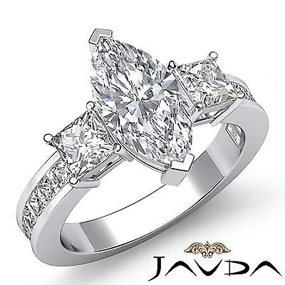 3 Stone Prong Channel Set Marquise Diamond Engagement Ring GIA G Color VS2 2.1Ct