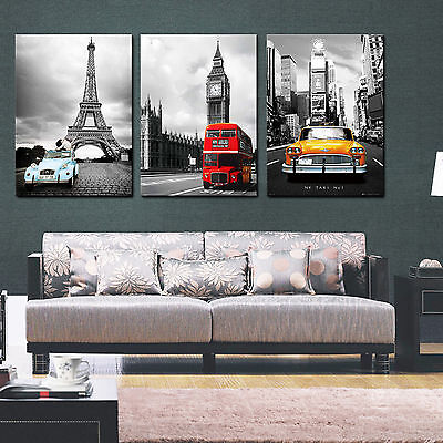 3 Piece Canvas Art - NYC/Paris/London 3 piece ready to hang canvas wall art print/surpassed stretched