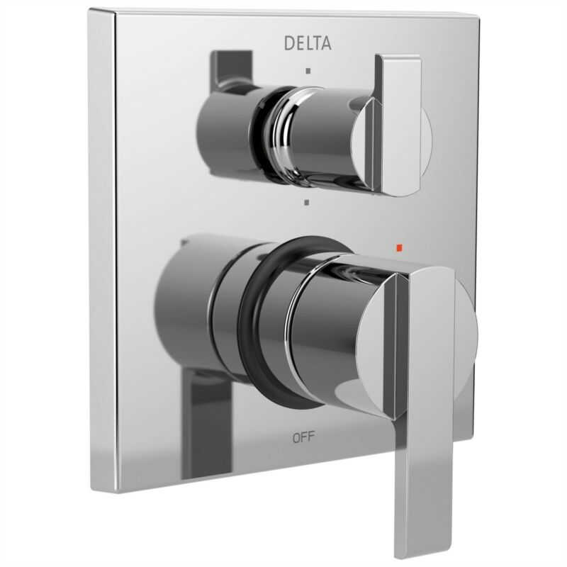 Delta Ara Chrome Shower Faucet Control with 6-Setting Diverter with Valve D2194V