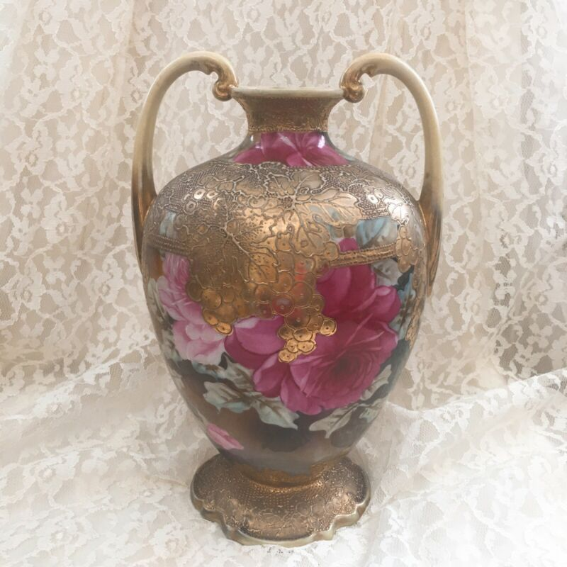 ANTIQUE UNMARKED HAND PAINTED GILDED DOUBLE HANDLED VASE LARGE 10""