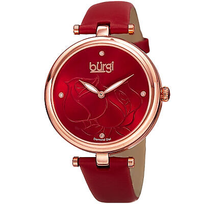 Women's Burgi BUR151RD  Flower Engraved Diamond Dial Genuine Leather Strap Watch