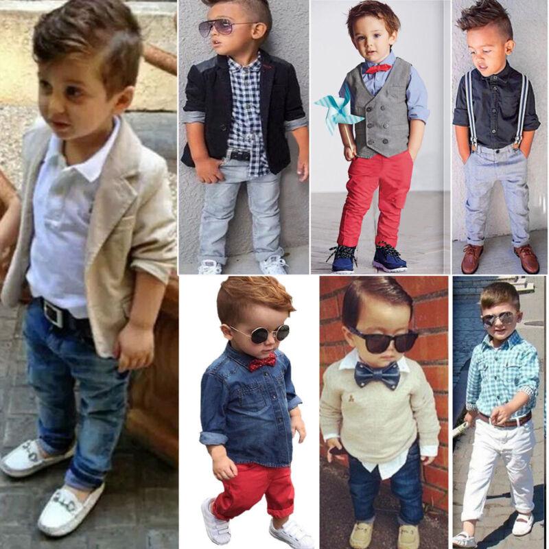 Toddler Kid Baby Boy T Shirt Coat Pants Outfits Set Gentlema