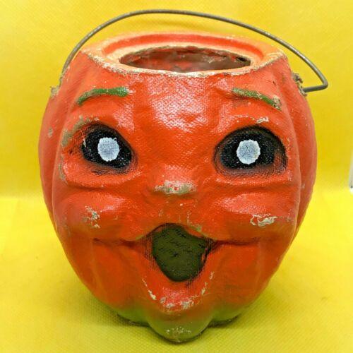 "Vintage Paper Mache Pumpkin Jack O Lantern Solid Eyes Handle 1940s Antique 4.5"""