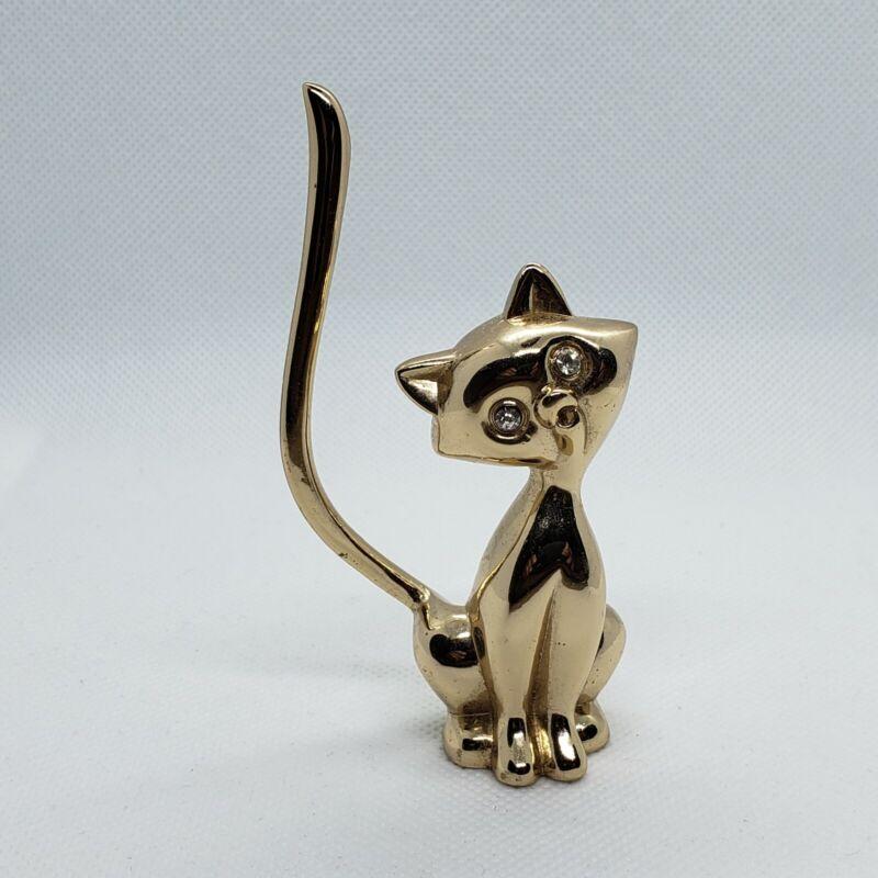 Vintage Cat Jewelry Ring Holder Rhinestone Eyes
