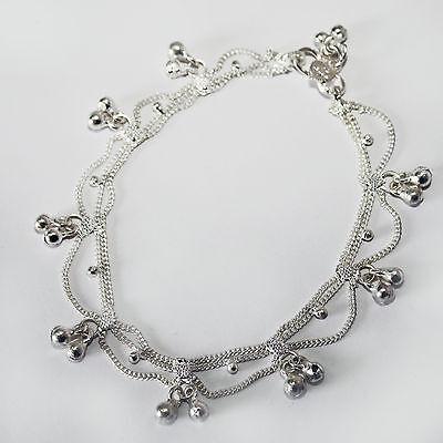 Fußkettchen mit Glöckchen 1 Stück Fußkette Bollywood Schmuck Silber Indien 27s1