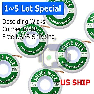 15 Pack 5 Ft 2.0mm Desoldering Copper Braid Solder Remover Wick Usa Seller