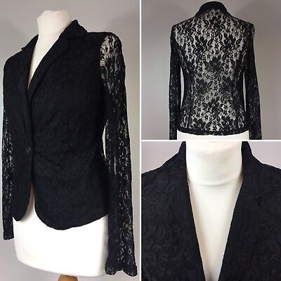 Lace Occasion Blazer Jacket UK 10 Black Stretchy Cover Up Semi Sheer Party Wear for sale  Shipping to Ireland