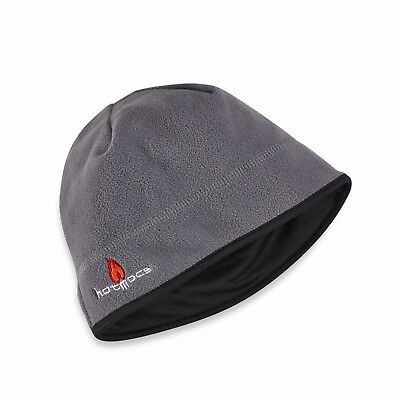 Black and Gray Adult Thermal Winter Fleece Lined Beanie Hat ~ New be6776189271