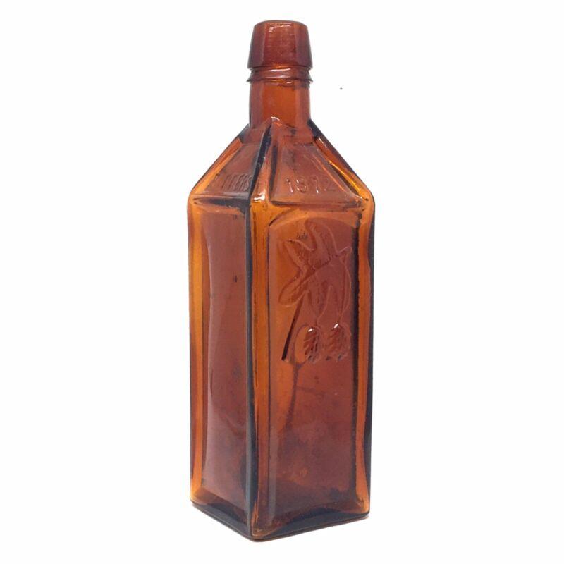 1872 Doyles Hop Bitters Semi Cabin Amber Applied Lip Antique Bitters Bottle