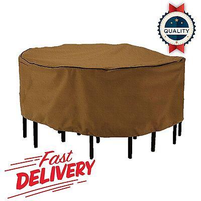 "Round Patio Table Chair Set Winter Cover 94"" Garden Outdoor"