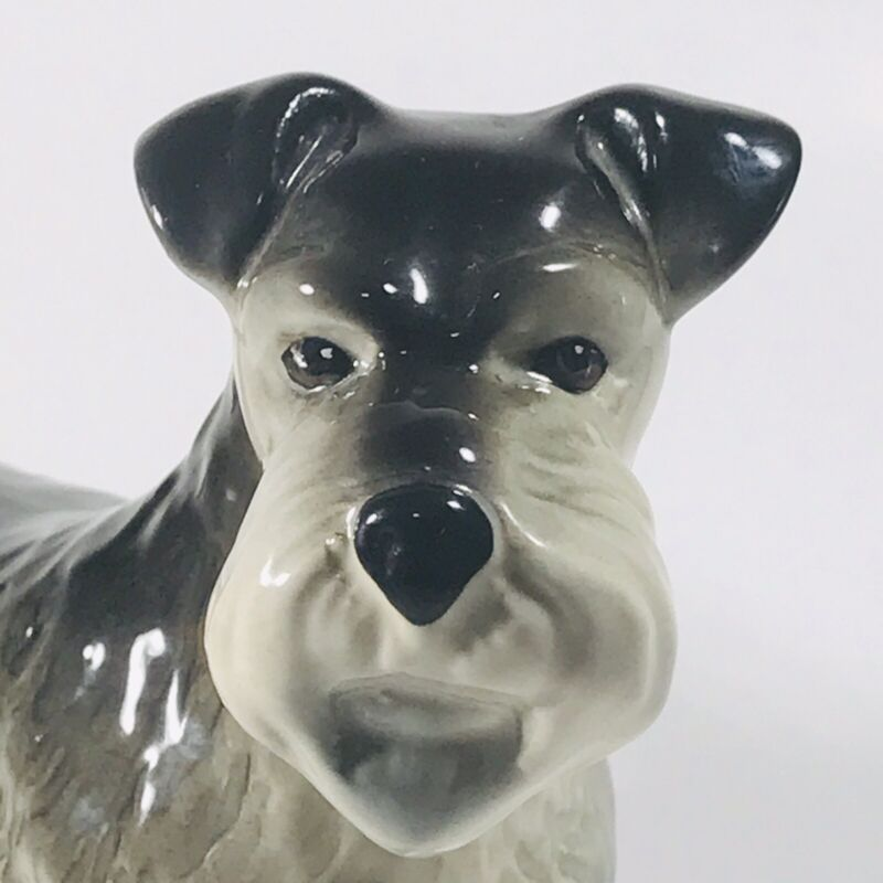 "Vintage Coopercraft Schnauzer Dog Figurine 8"" x 6.5"" w/ Sticker Made in England"