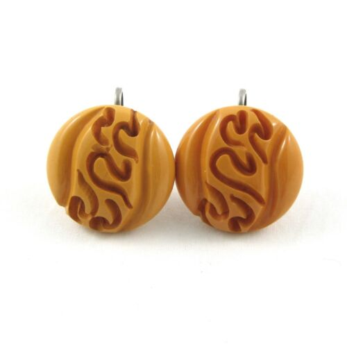 Vintage Butterscotch Carved Bakelite Earrings Round Screwback