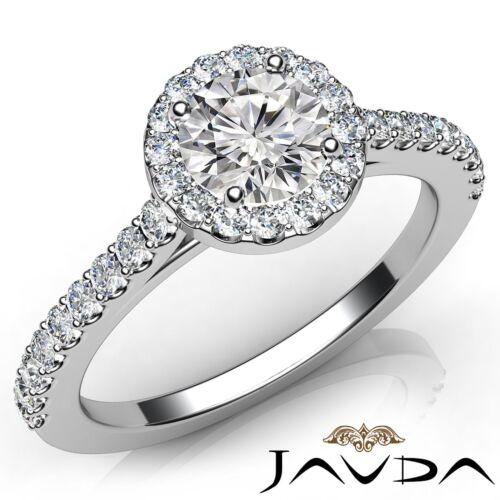 Classic Round Diamond Engagement Shared Prong Ring GIA E VS2 14k White Gold 1ct
