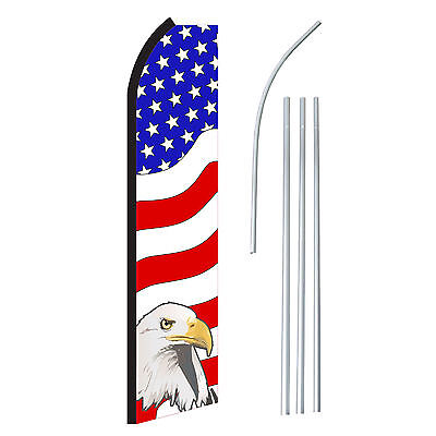 Usa Eagle - Advertising Sign Swooper Feather Banner Flag Pole Only
