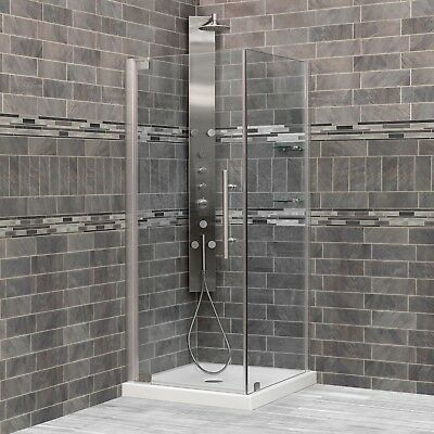 Shower Enclosures 34 3/8-35 W x 72 H x 34-45 D ULTRA-G Chrome LessCare