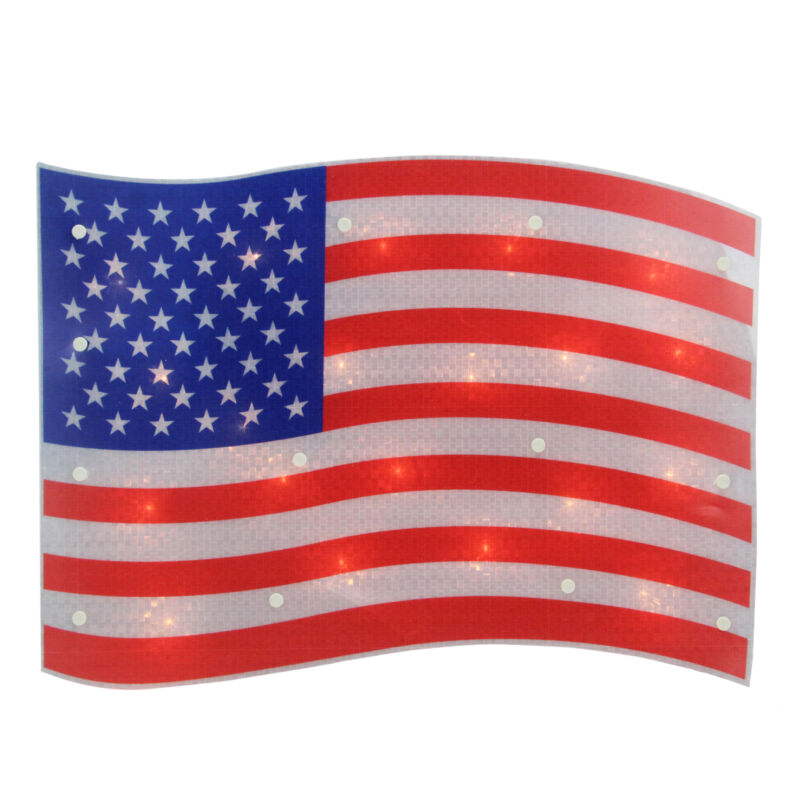 "Northlight 17"" Lighted Holographic Red, White Blue American Flag Window Decor"