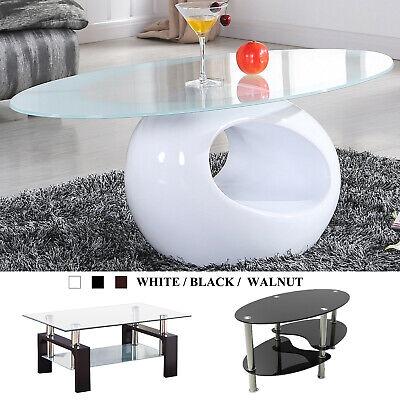 Glass Coffee Table Side Table Shelf Chrome Base Living Room Clear/Black/White