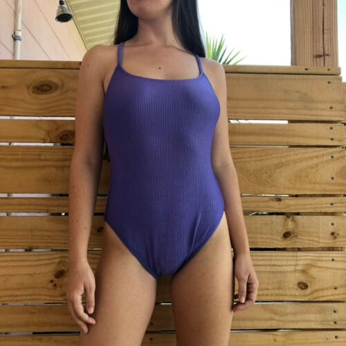 Vintage 90s Shiny Lilac Purple Ribbed One Piece Swimsuit  Sz Medium