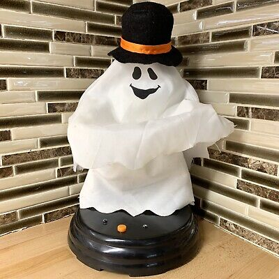 Gemmy Grave Raver Top Hat Ghost Halloween Animated Rare Tabletop 2010 Works
