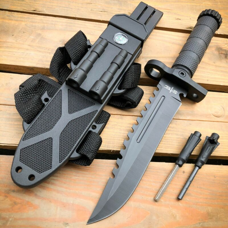 """12.5"""" MILITARY TACTICAL FIXED BLADE Hunting  Army  SURVIVAL Knife w Fire Starter"""