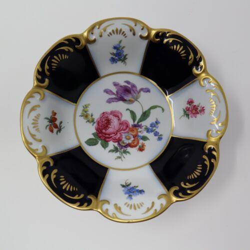 Gerold Porzellan West Germany Echt Kobalt Scharffeuer Bowl Candy Dish Flowers