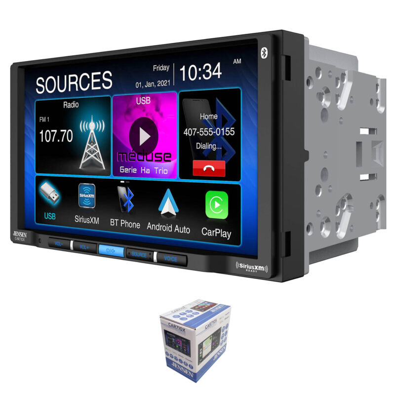 "Jensen 7"" Touchscreen Bluetooth 2 Din Radio w/ CarPlay & Android Auto CAR710X"