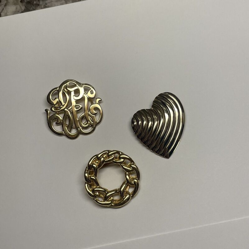 Lot Of 3 Vintage - Modern Scarf Clips Gold Tone