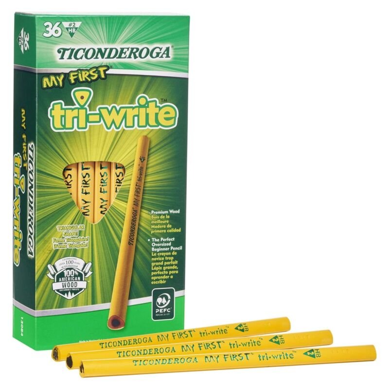 Ticonderoga My First Tri-Write Pencils without Eraser, Primary Size Wood-Cased