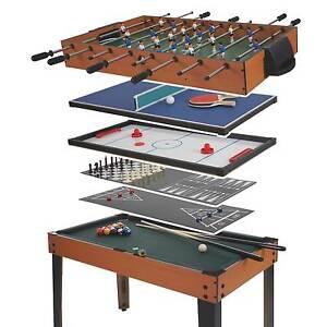 Tischkicker Wakefield, 7in1 Multiplayer Spieletisch Tischfussball, 82x107x60cm