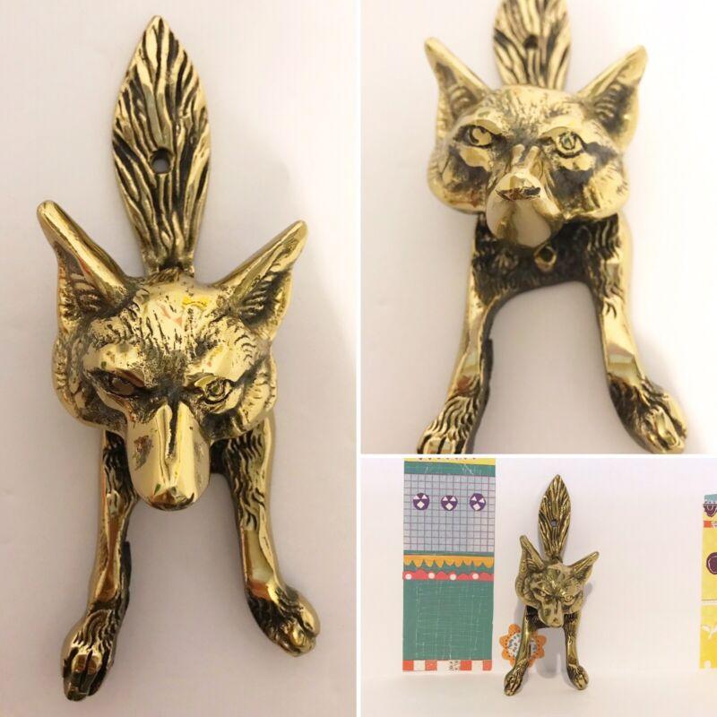 Vintage Fox Head Brass Door Knocker. Victorian style. Gold color