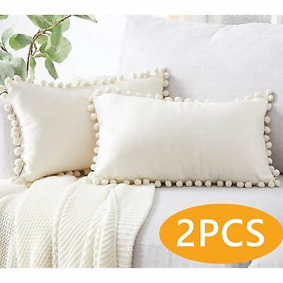 Throw Pillow Covers With Pom Poms Soft Decorative Pillow Cases