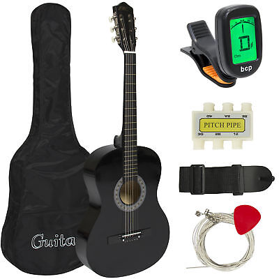 Beginners 38'' Acoustic Guitar with Case, Strap, Digital E-Tuner,& Pick, (Black)