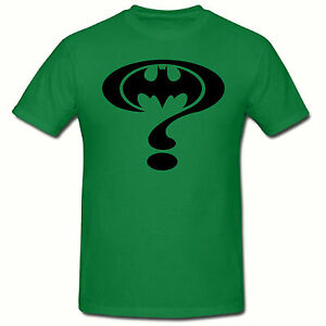 Green riddler batman t shirt riddler funny novelty t shirt for Riddler t shirt with bats