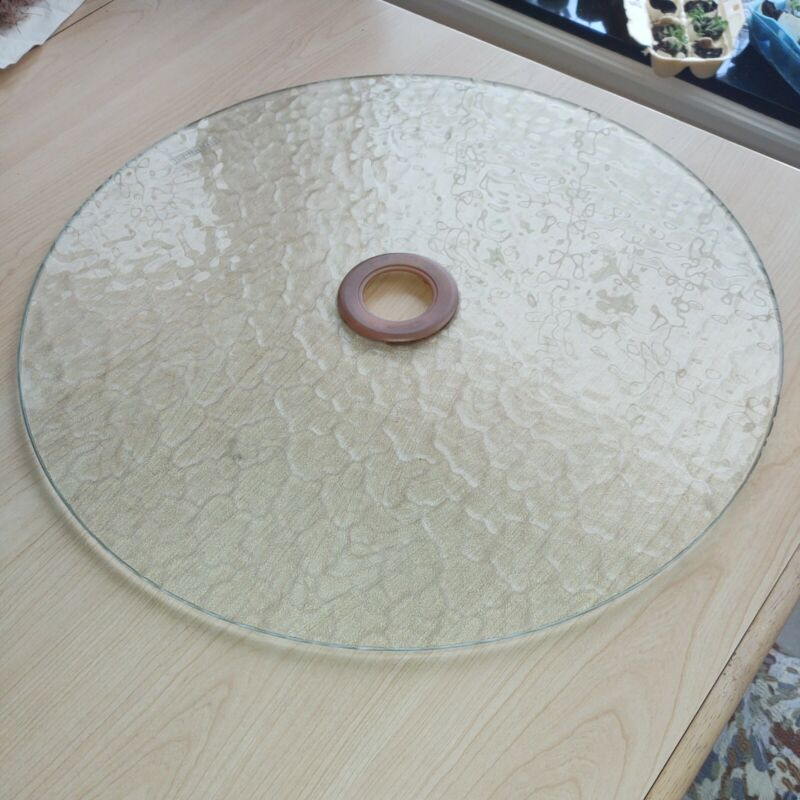 """Replacement 18"""" Patterned Tempered Glass Lazy Susan Disc for Picnic Table"""