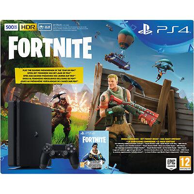SONY PlayStation 4 500 GB Schwarz + Fortnite Royal Bomber Pack Voucher