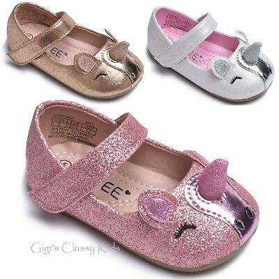 Toddler Girls Pink Rose Gold Silver Unicorn Face Ballerina Shoes Youth Flats New - Unicorn Flats