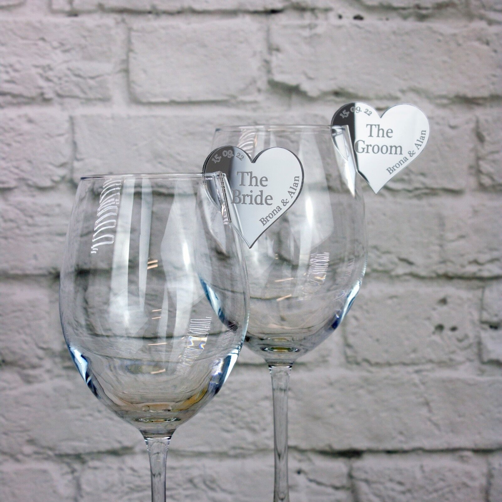 Wedding Name Place Settings Personalised Hearts for Champagn